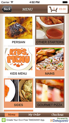 Your Own Takeaway App Example Menu Screen