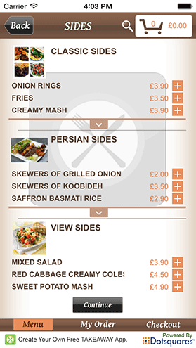 Example Menu Items Screen